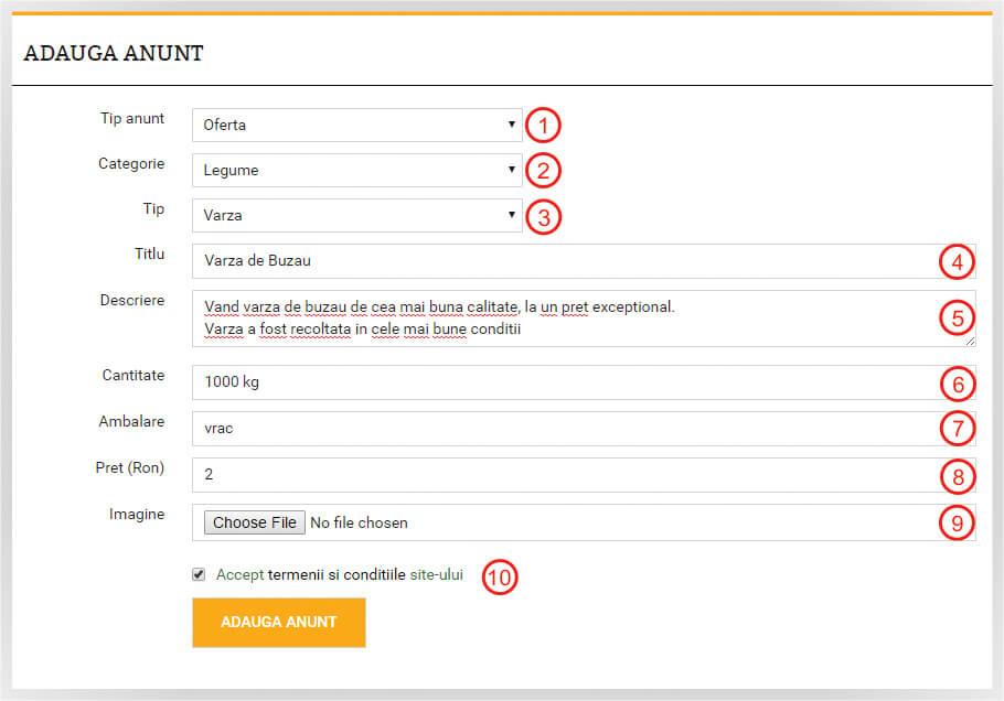 ghid website - formular adauga anunt bursa de legume